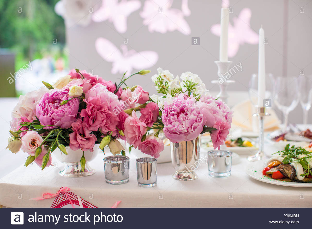 Beautiful bright bouquet of peony on the wedding table in vase Stock ...
