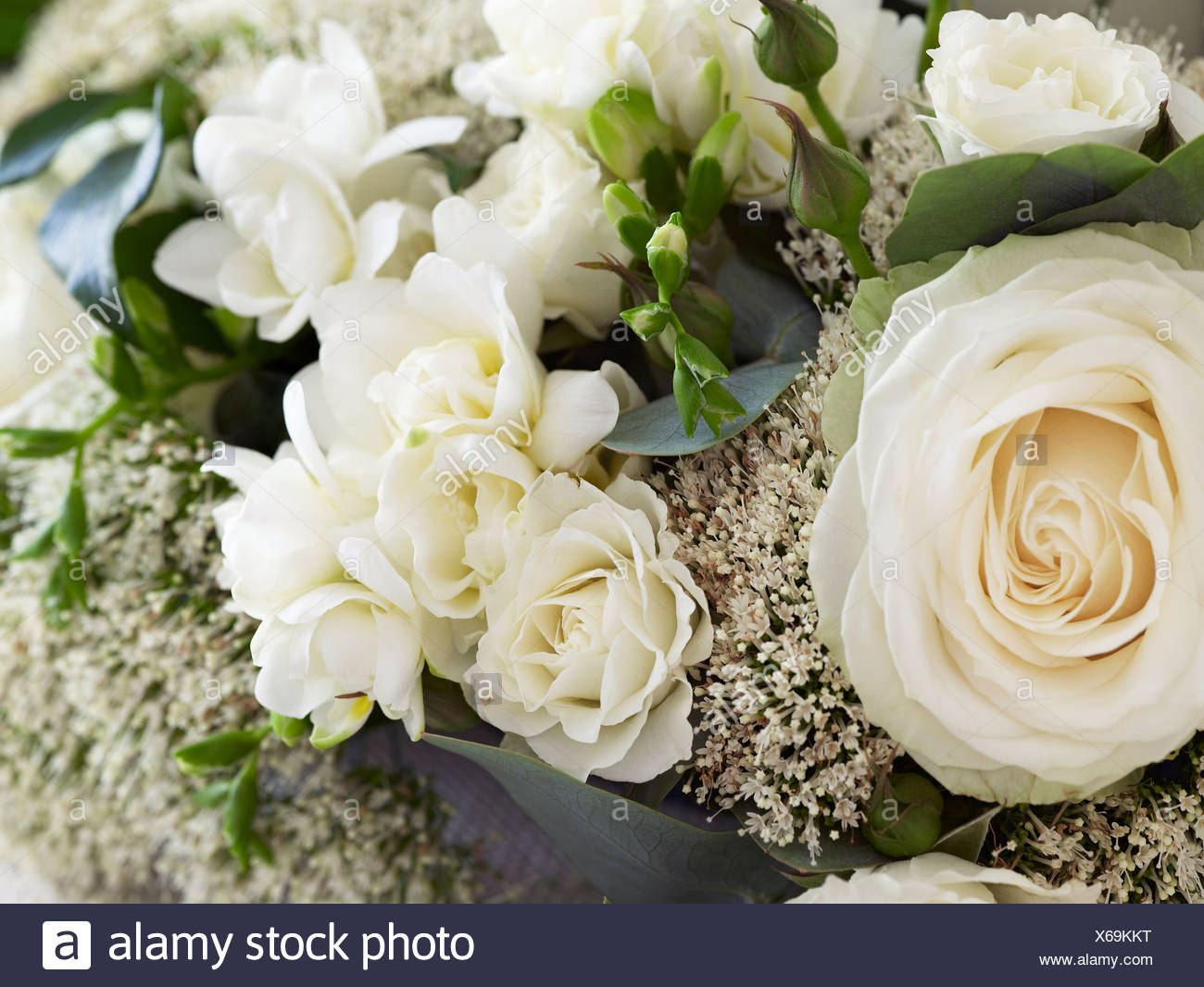 Bunch Of Flowers Including White Roses Close Up Stock Photo