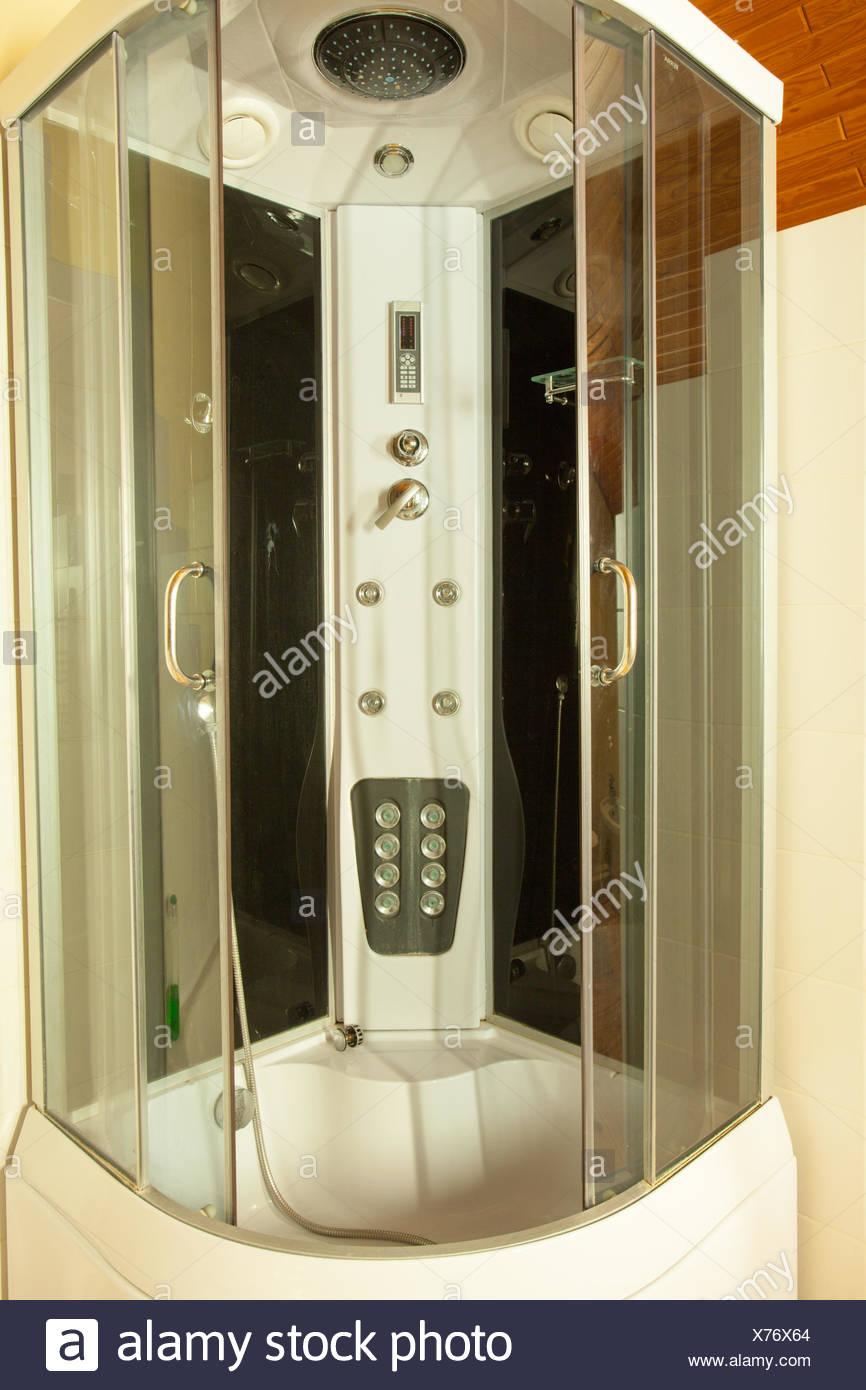 Modern big shower cabin in bathroom corner Stock Photo: 279820748 ...