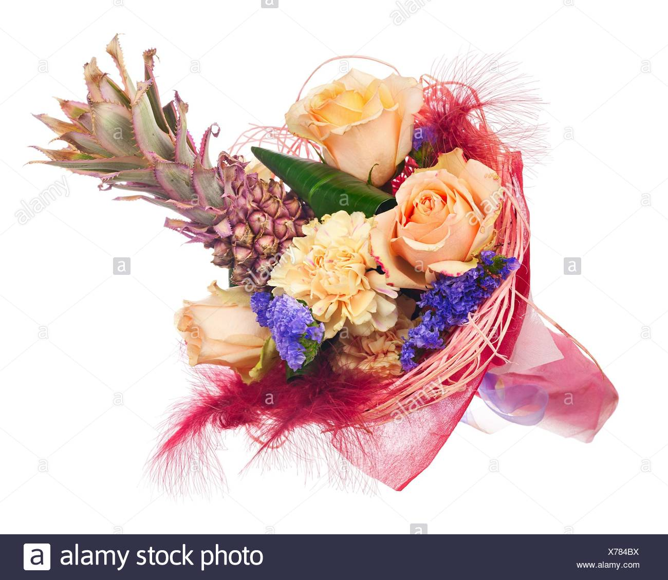 Beautiful Bouquet Of Roses Carnations Decorative Pineapple And