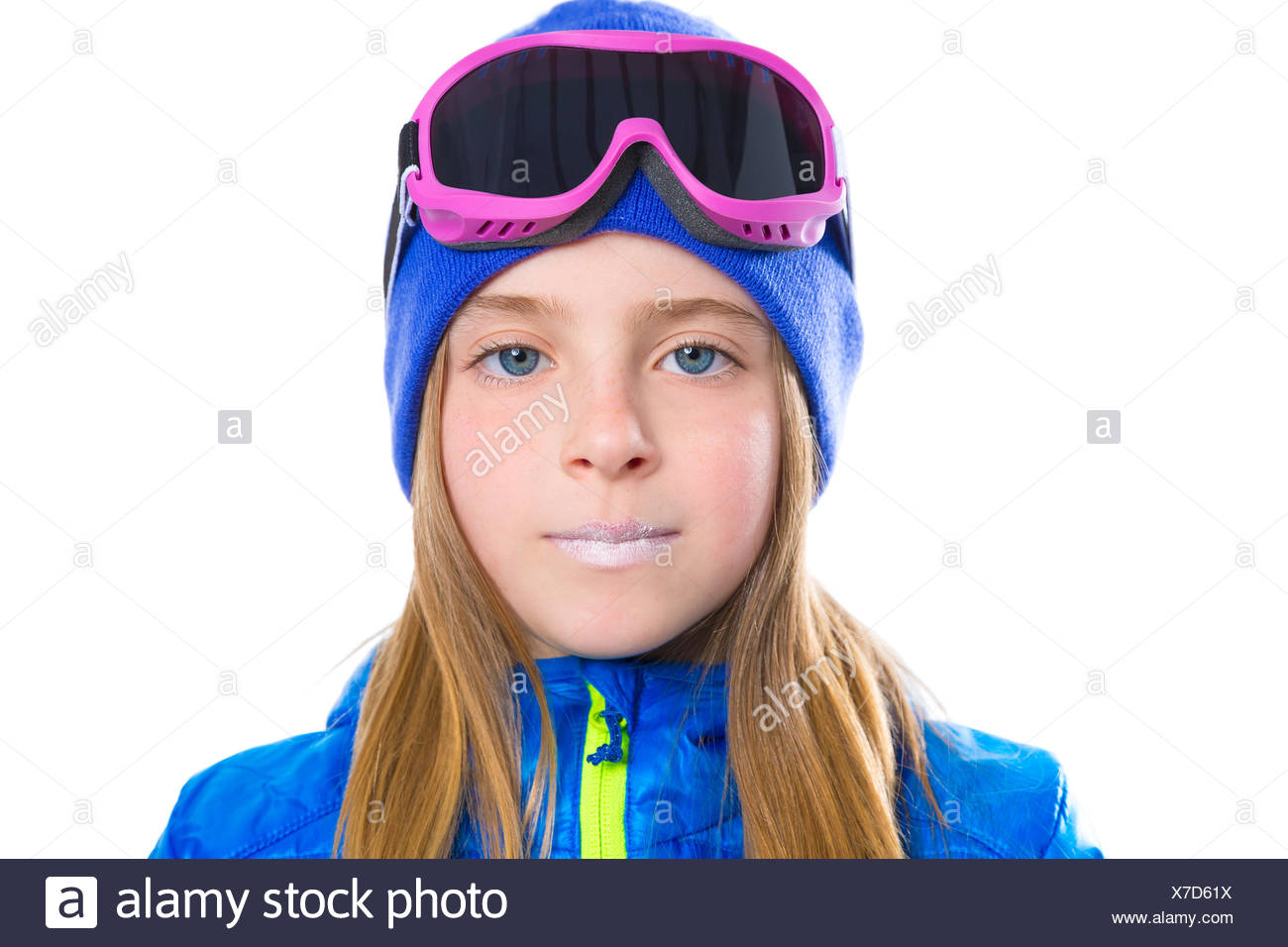 Blond kid girl winter portrait with ski snow goggles and wool hat ... 9fbaa759d610
