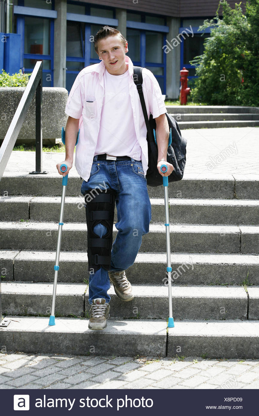 Stairs Young Person Feet Knees Injury Crutches Rail Knee