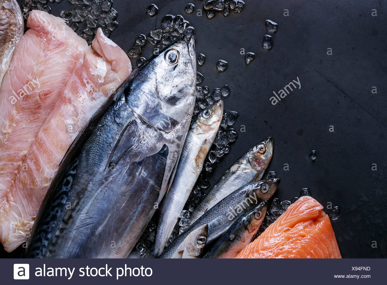 Variety Of Raw Fresh Fish Whole Tuna And Herring Fillet Of Salmon