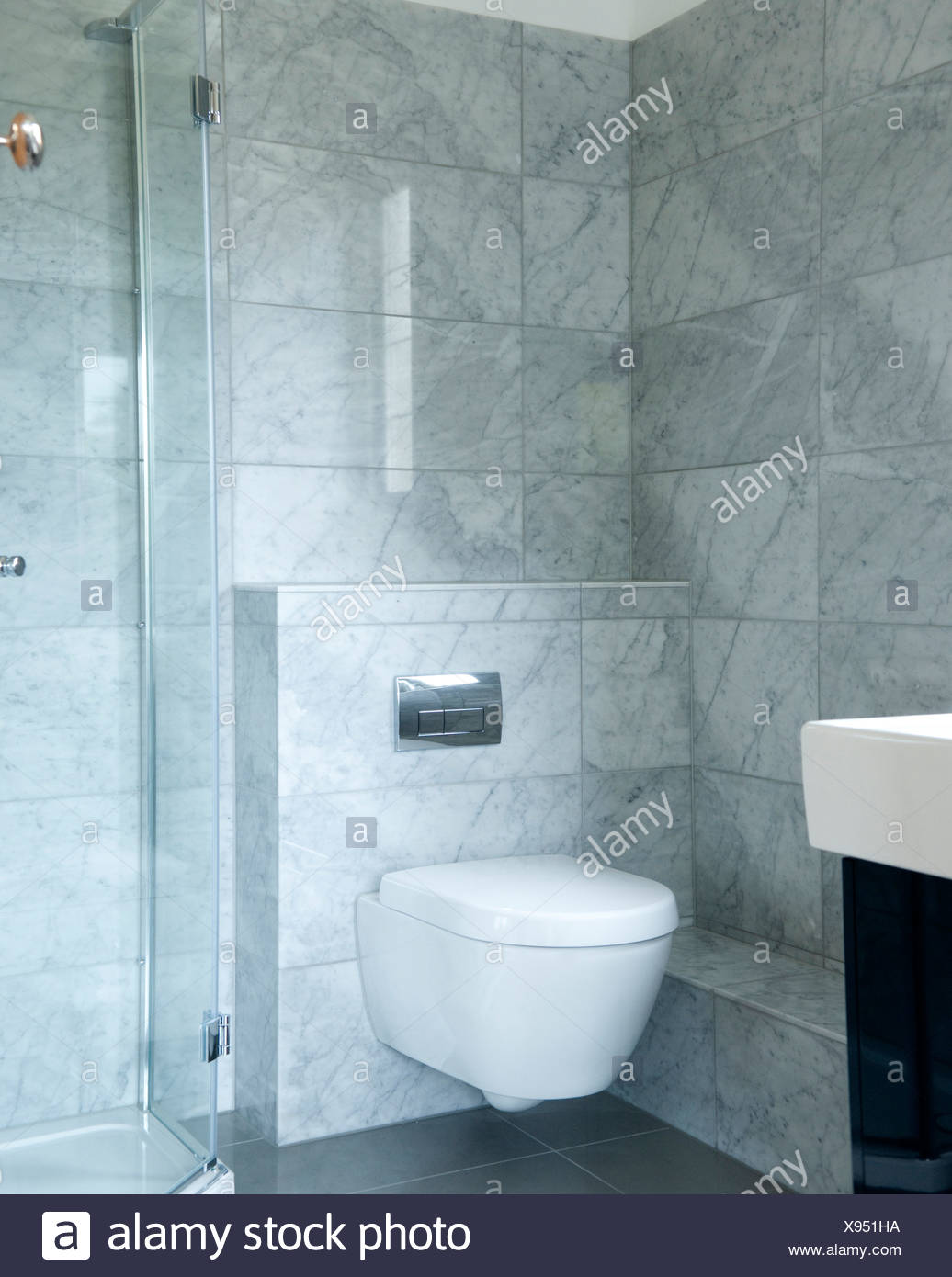 A bathroom interior with toilet and shower unit Stock Photo ...