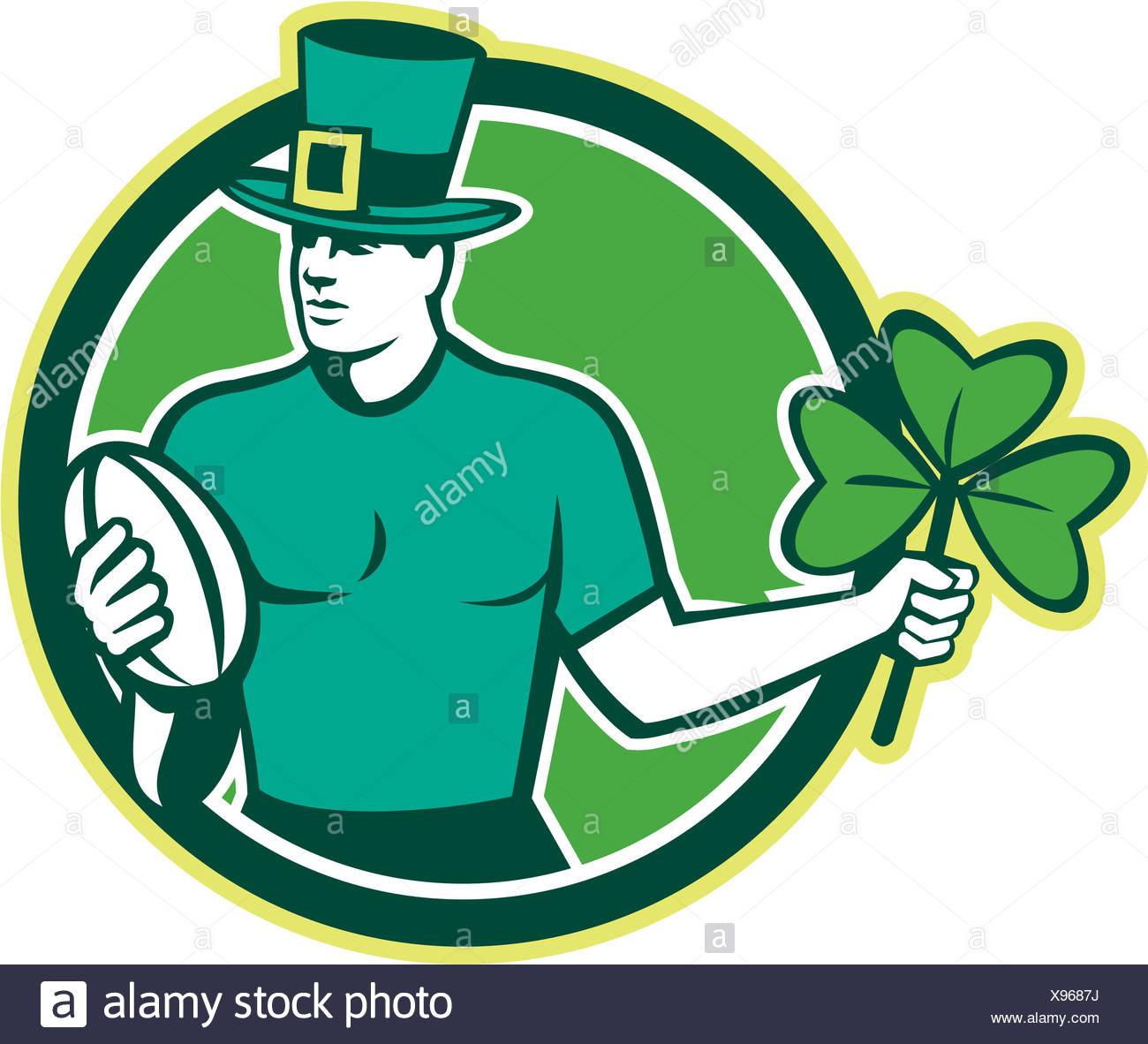 Irish Rugby Player Holding Shamrock Stock Photo 281035990 Alamy