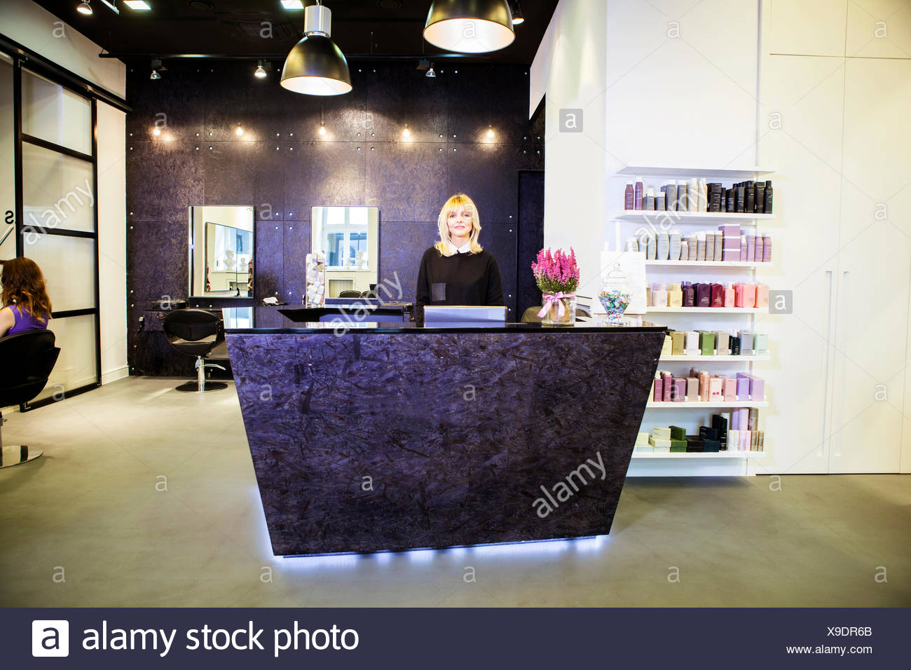 Salon receptionist stock photos salon receptionist stock for Hair salon perfect first essential