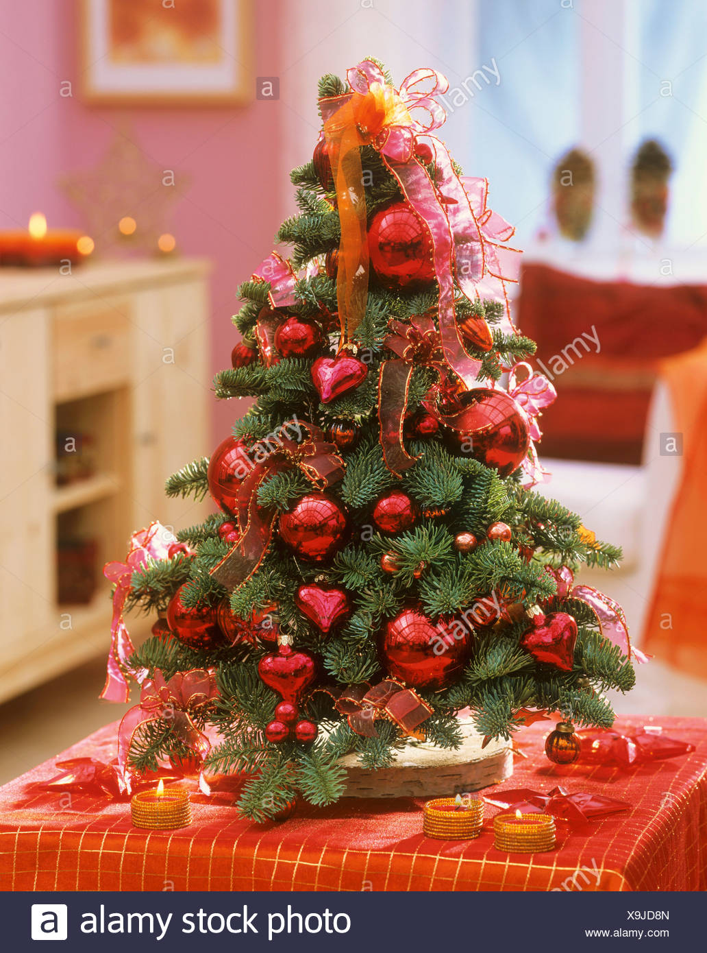 Noble fir decorated as Christmas tree Stock Photo: 281303365 - Alamy