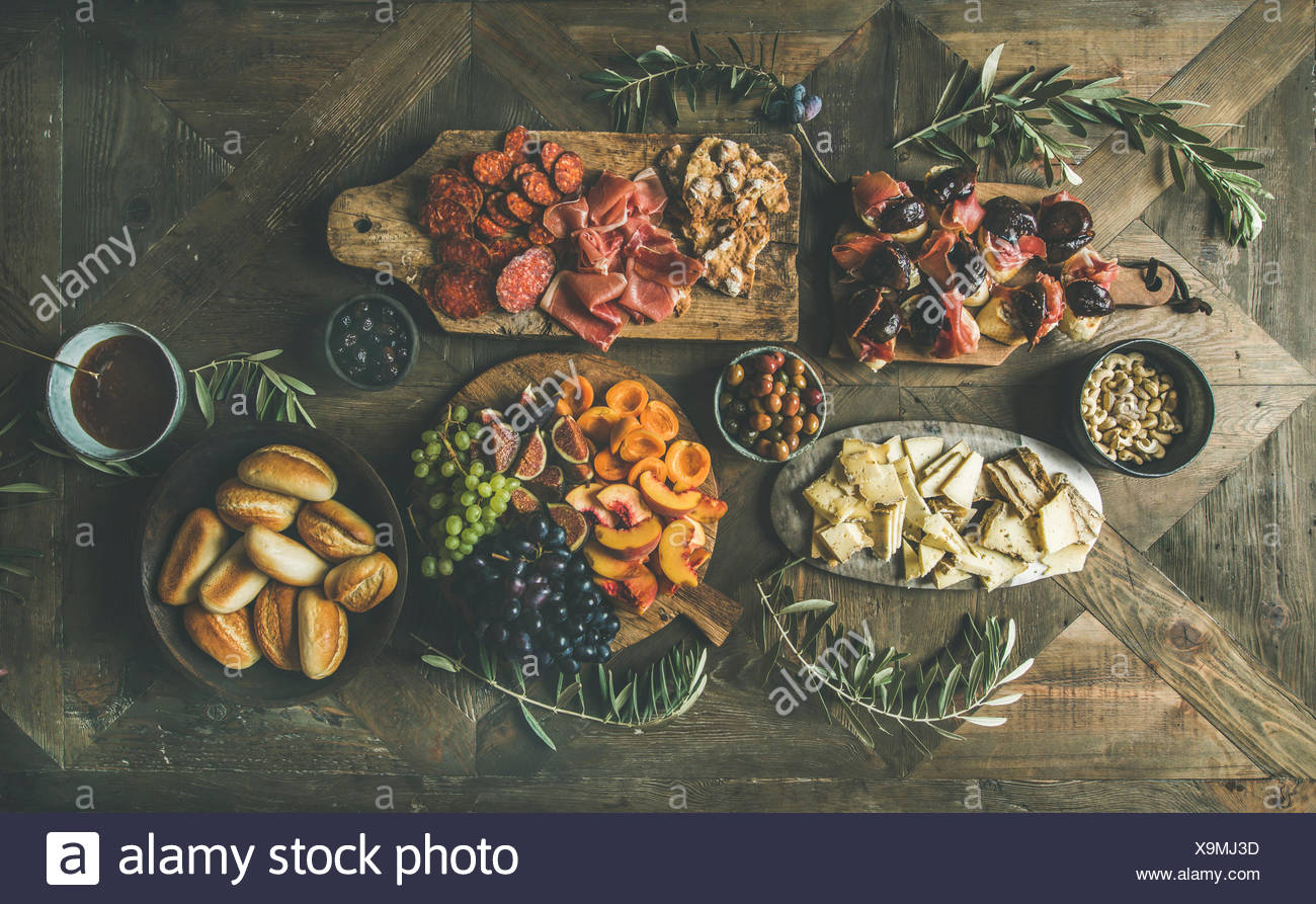 flat lay of holiday friends party gathering or family dinner table