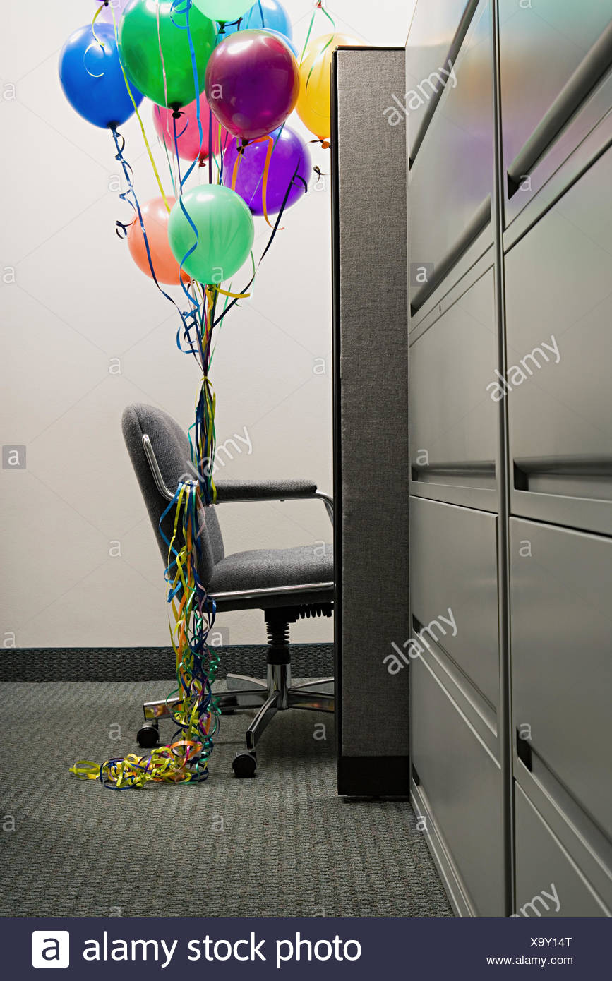 empty office chair with balloons tied to it stock photo 281491416 rh alamy com French Balloon Chairs office chair ballymoney