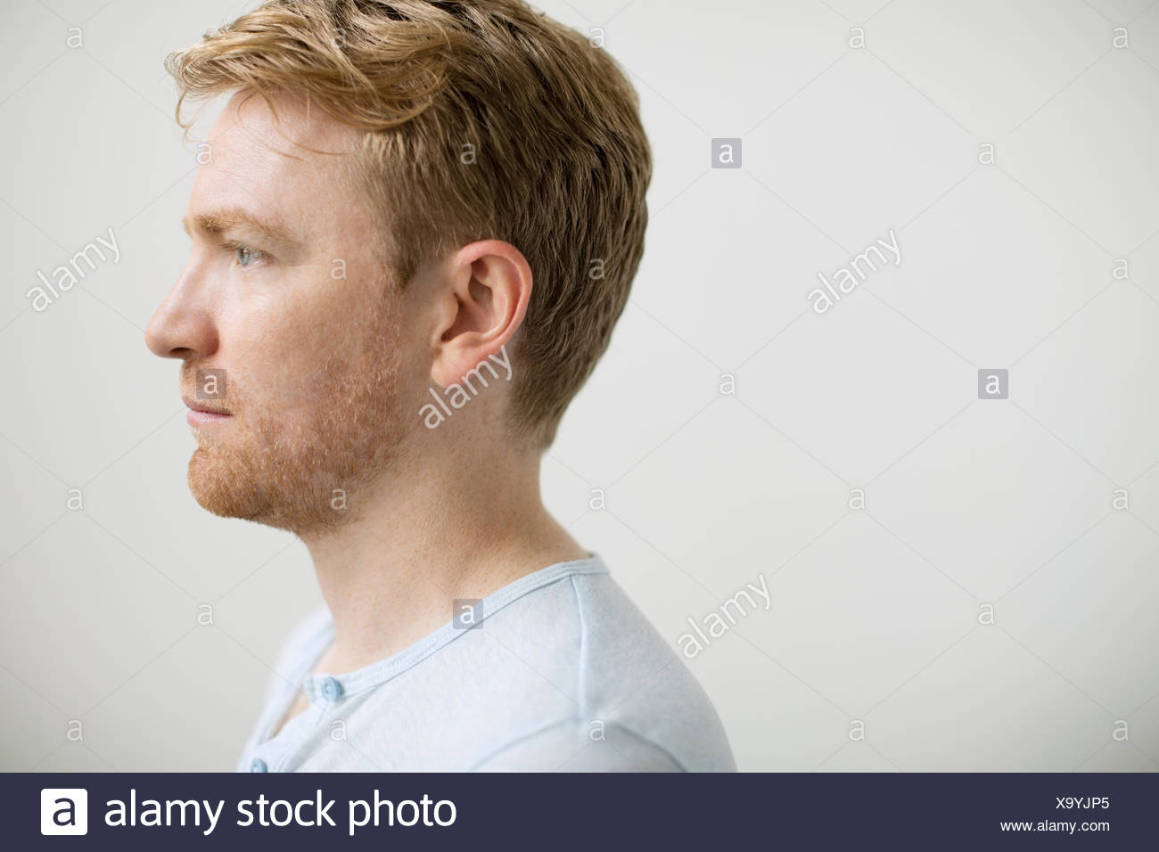 profile of man with strawberry blonde hair stock photo 281505229