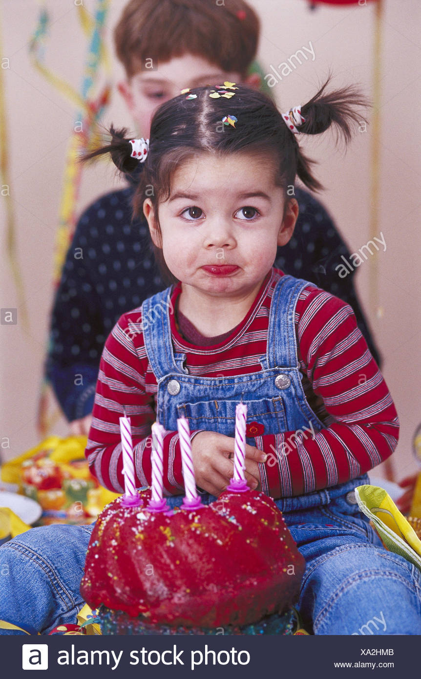 Childrens Birthday Party Girl Cake Candles Blown Out Facial Play Celebration Feast