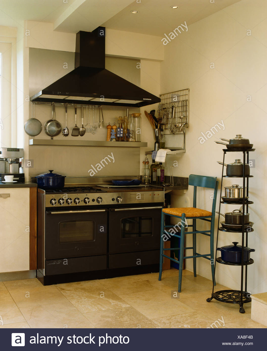 Extractor Above Black Range Oven In Modern Kitchen With Freestanding Pan  Storage Rack