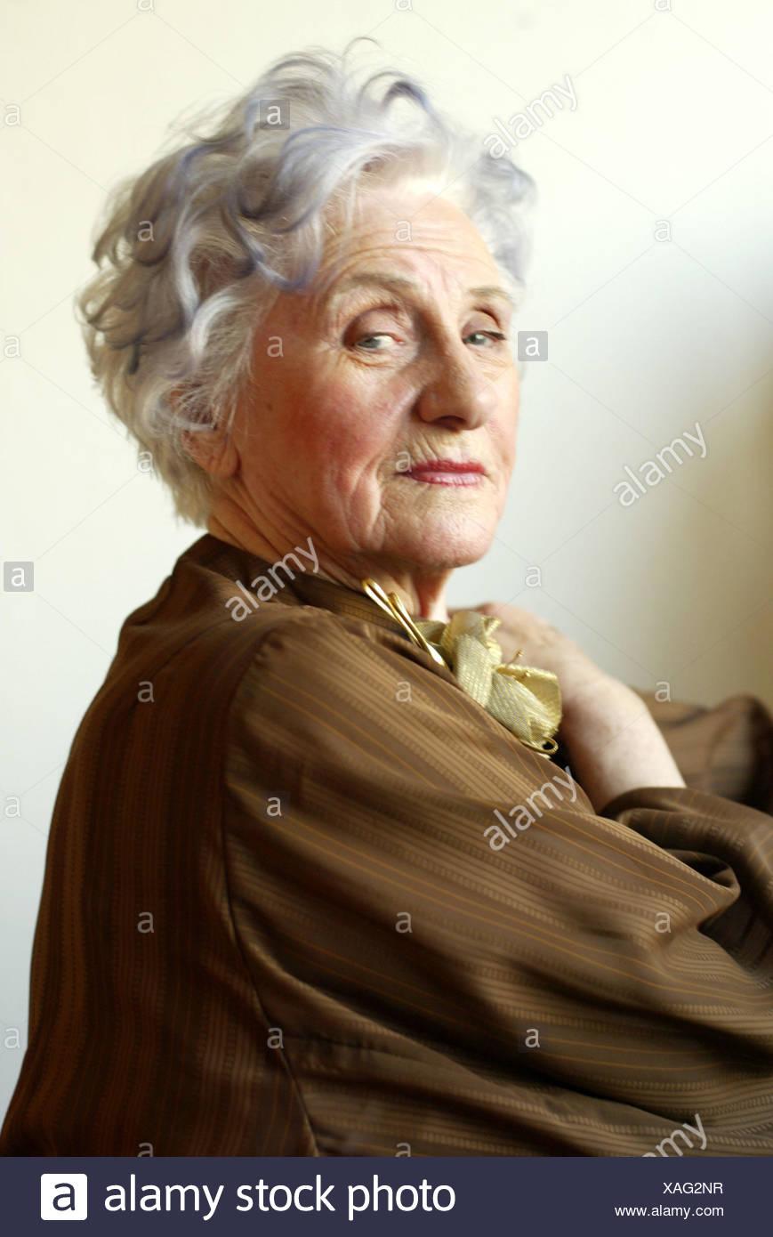 Senior Elegantly Seriously Portrait 60 70 Years Woman