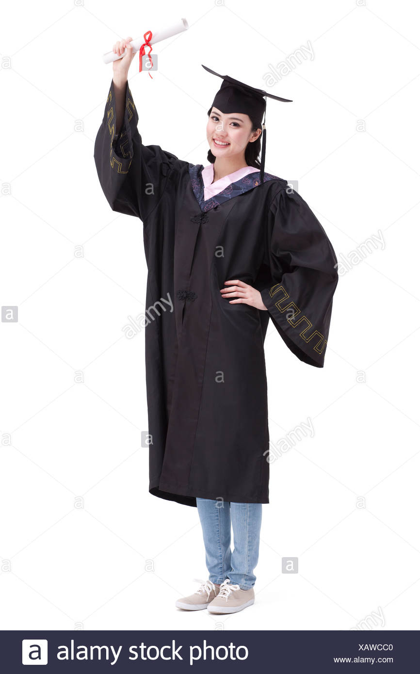 Happy college graduate in graduation gown Stock Photo: 282070992 - Alamy