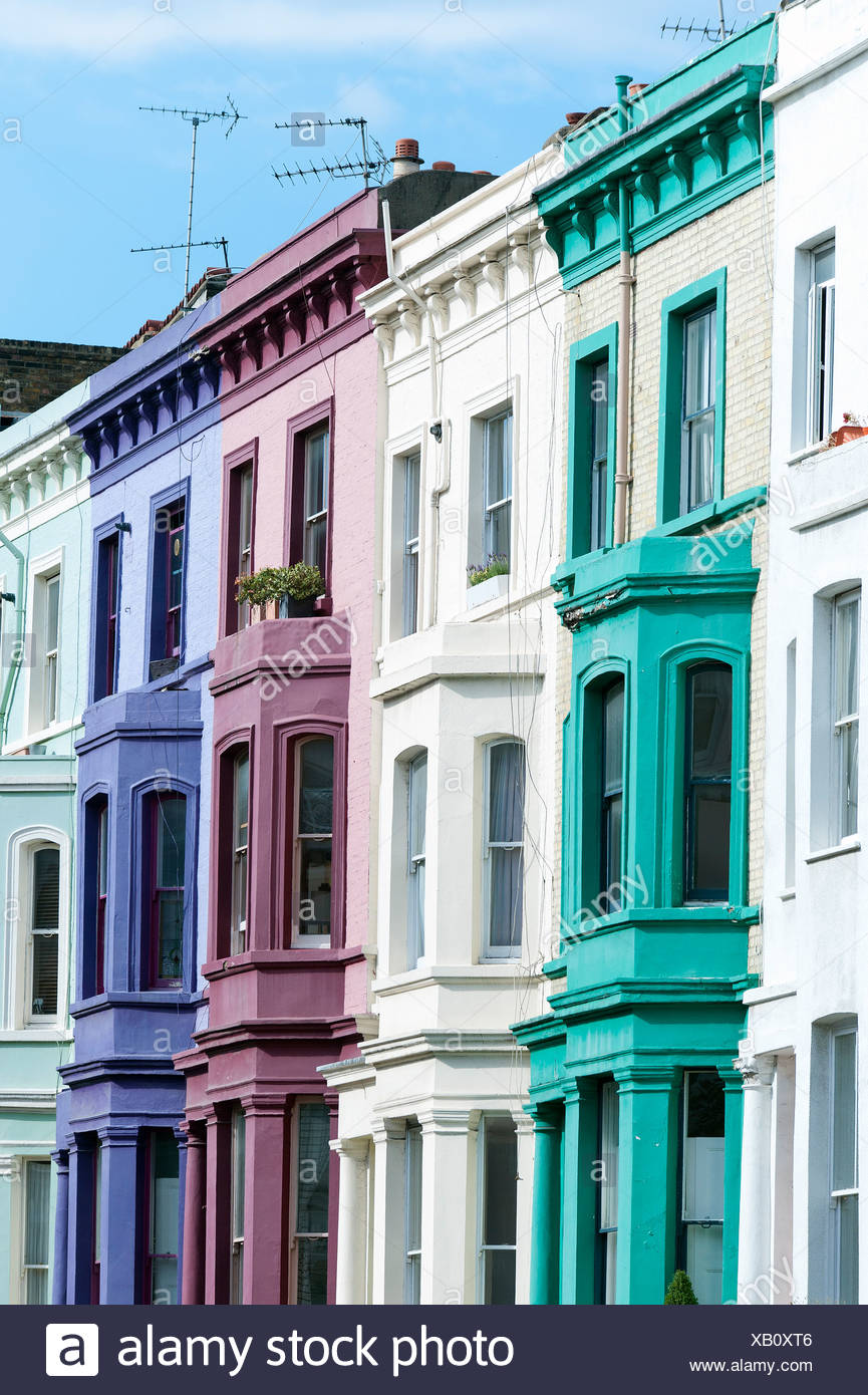 Colourful Terraced Houses, Portobello Road, Notting Hill, London, England,  United Kingdom