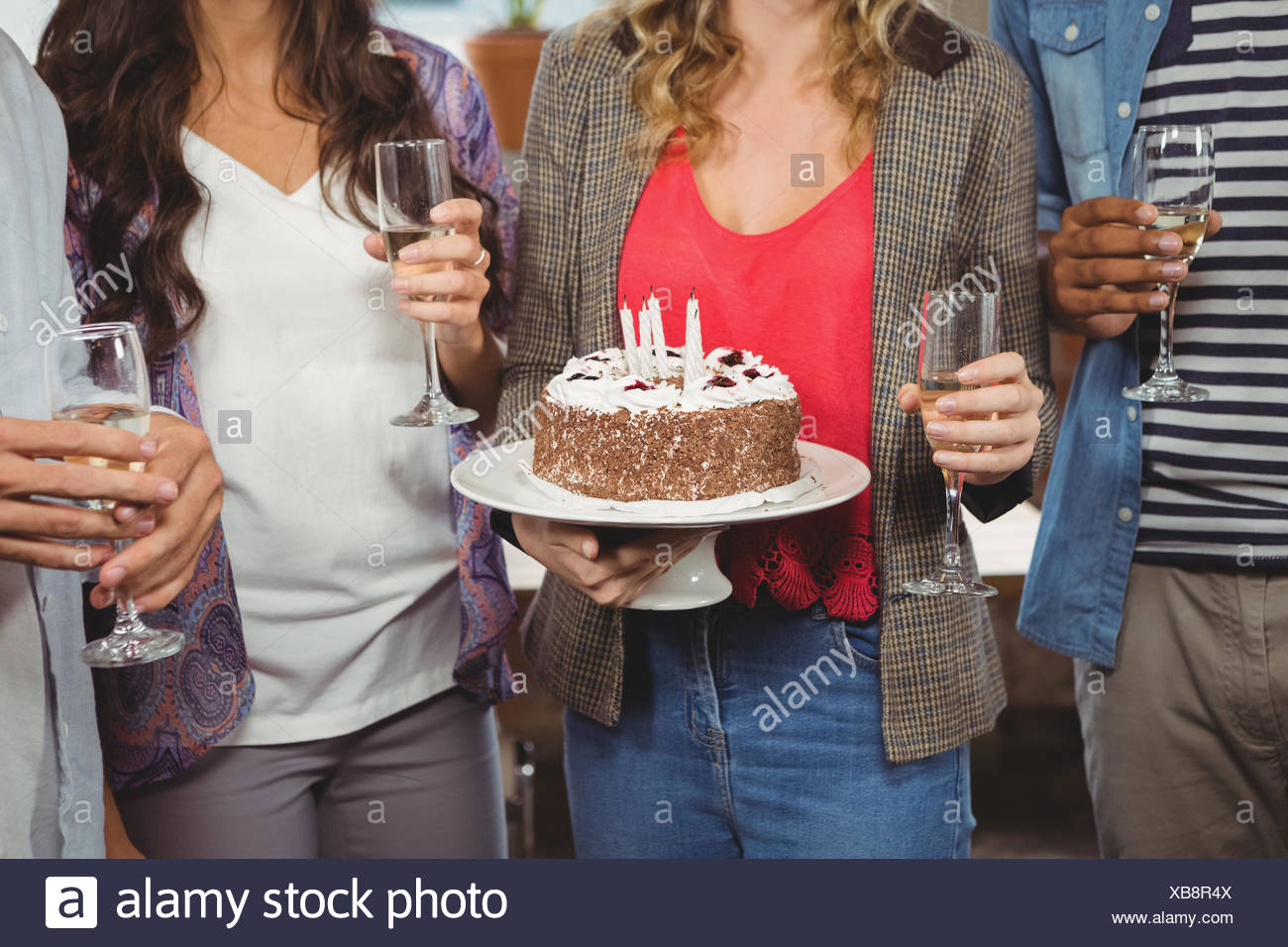 Business People Holding Birthday Cake Stock Photo 282320890 Alamy