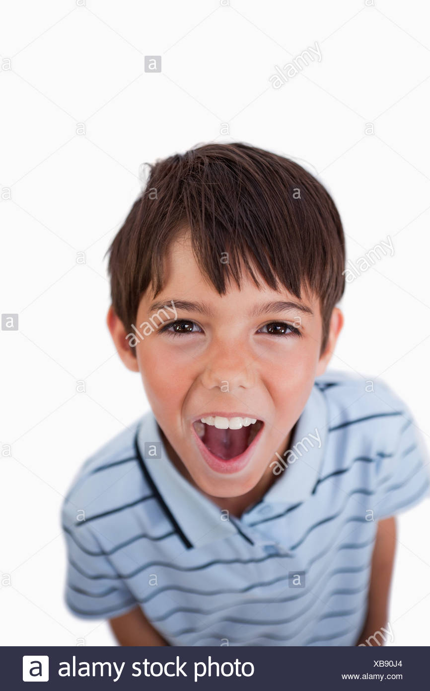 portrait of a boy screaming at the viewer stock photo 282325180 alamy