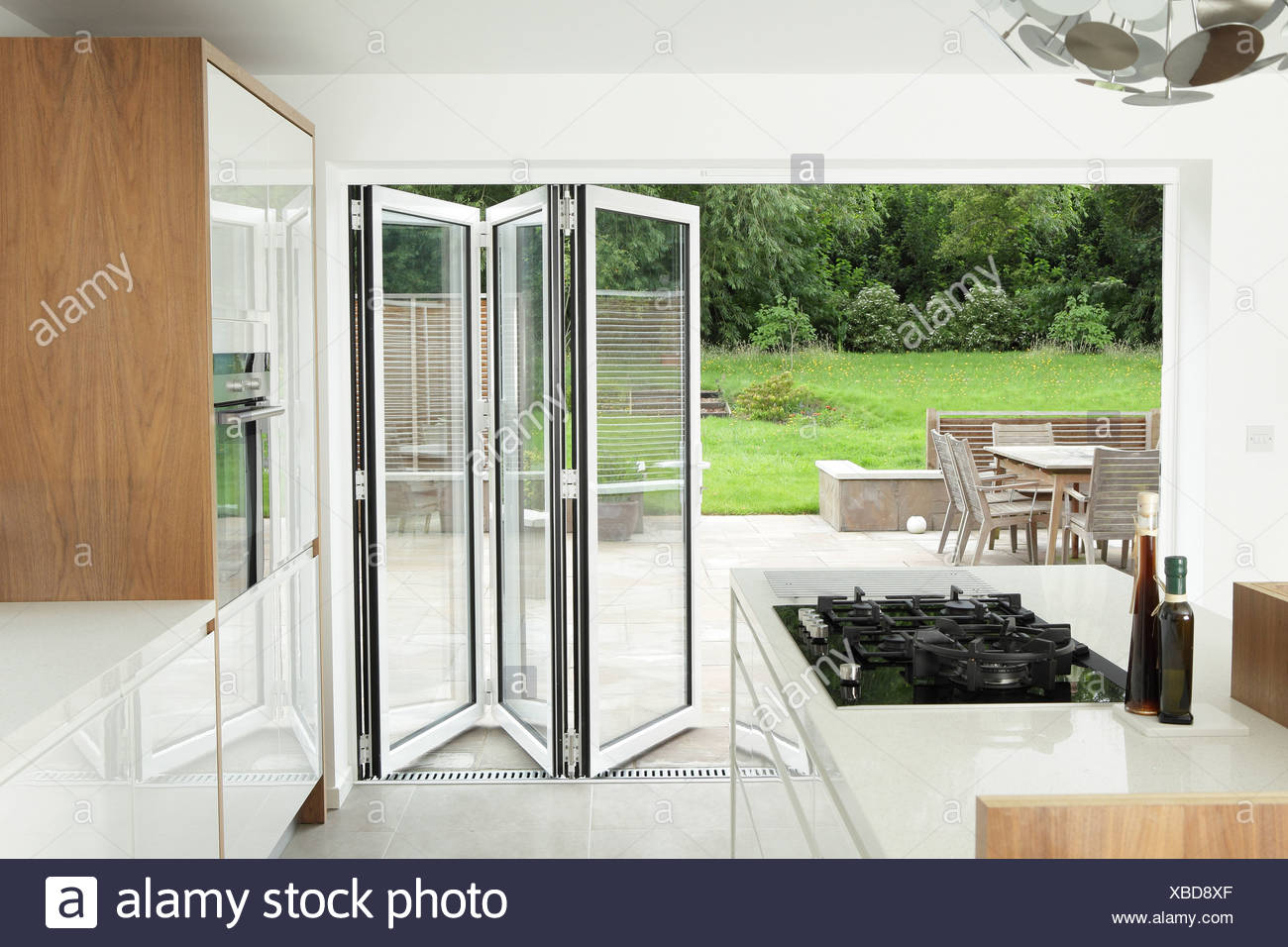 Kitchen With Open Patio Doors Stock Photo 282419495 Alamy