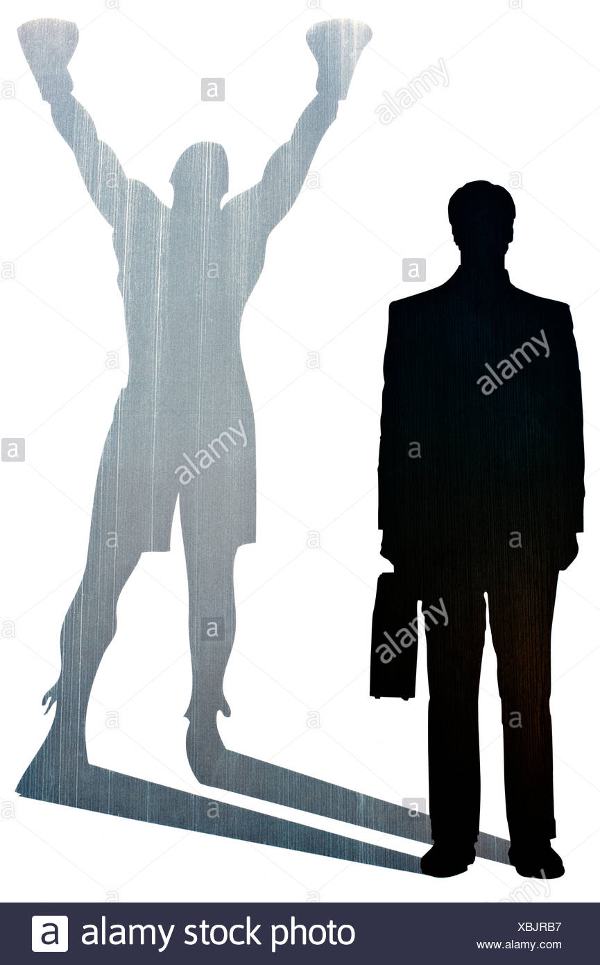businessman silhouette with the shadow of a boxer symbolic image of