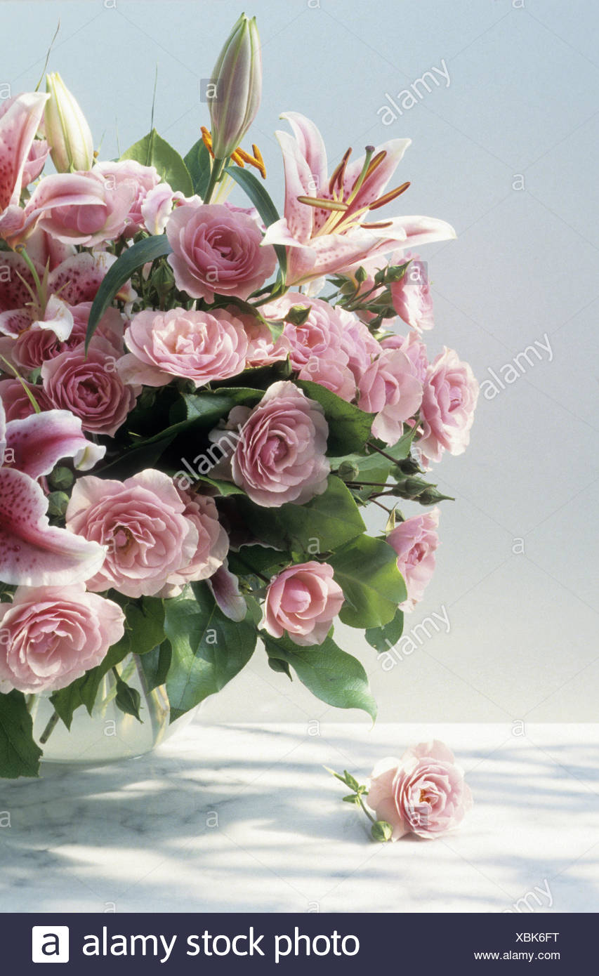 Bouquet With Lilies And Roses Stock Photo 282549340 Alamy