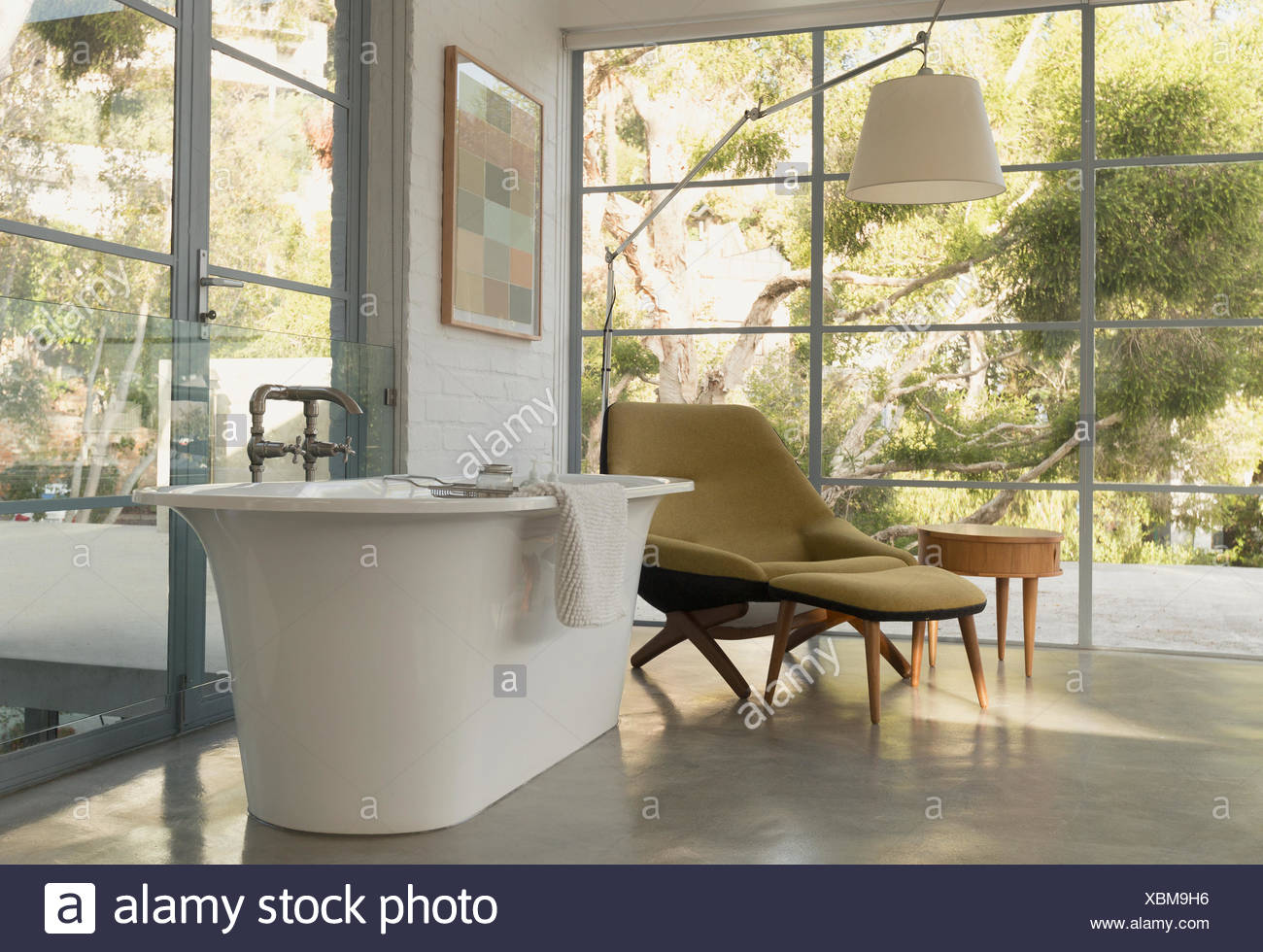 Soaking tub in home showcase interior bedroom with garden view Stock ...