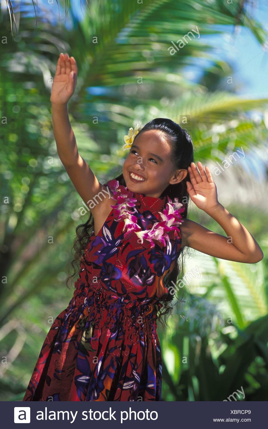 Beautiful Young Hawaiian Girl Dancing An Aunana Modern Hula With