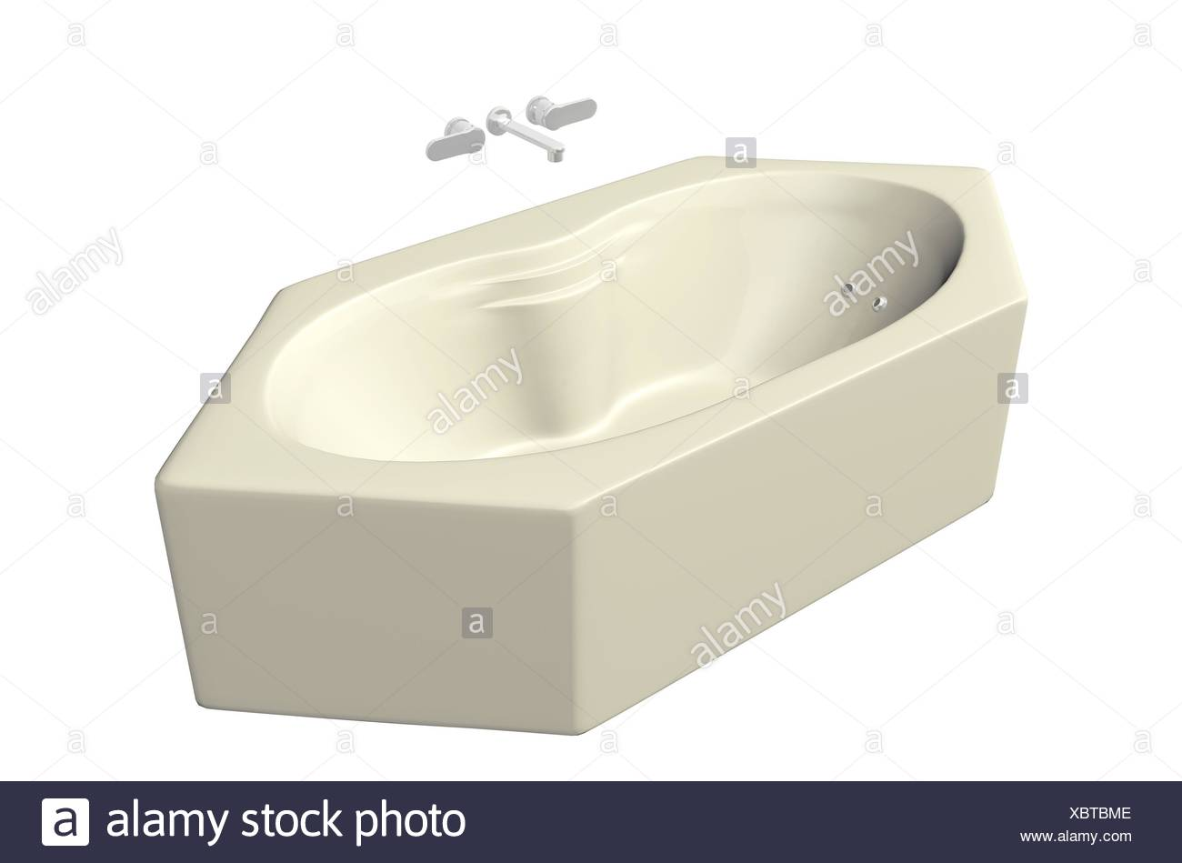 Cream colored hexagonal bubble bathtub with stainless fixtures ...