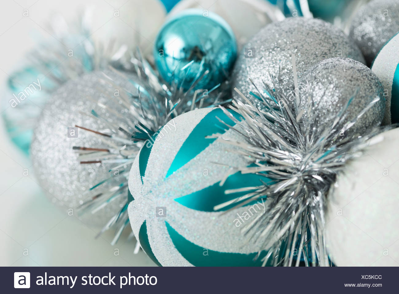 close up of blue and silver christmas ornaments - Blue And Silver Christmas Ornaments