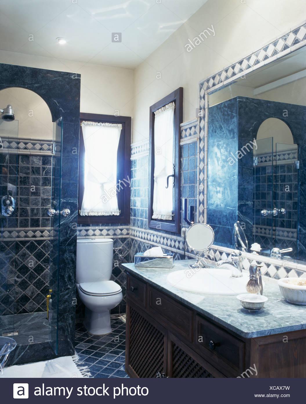Traditional blue tiled Spanish bathroom Stock Photo: 282981885 - Alamy