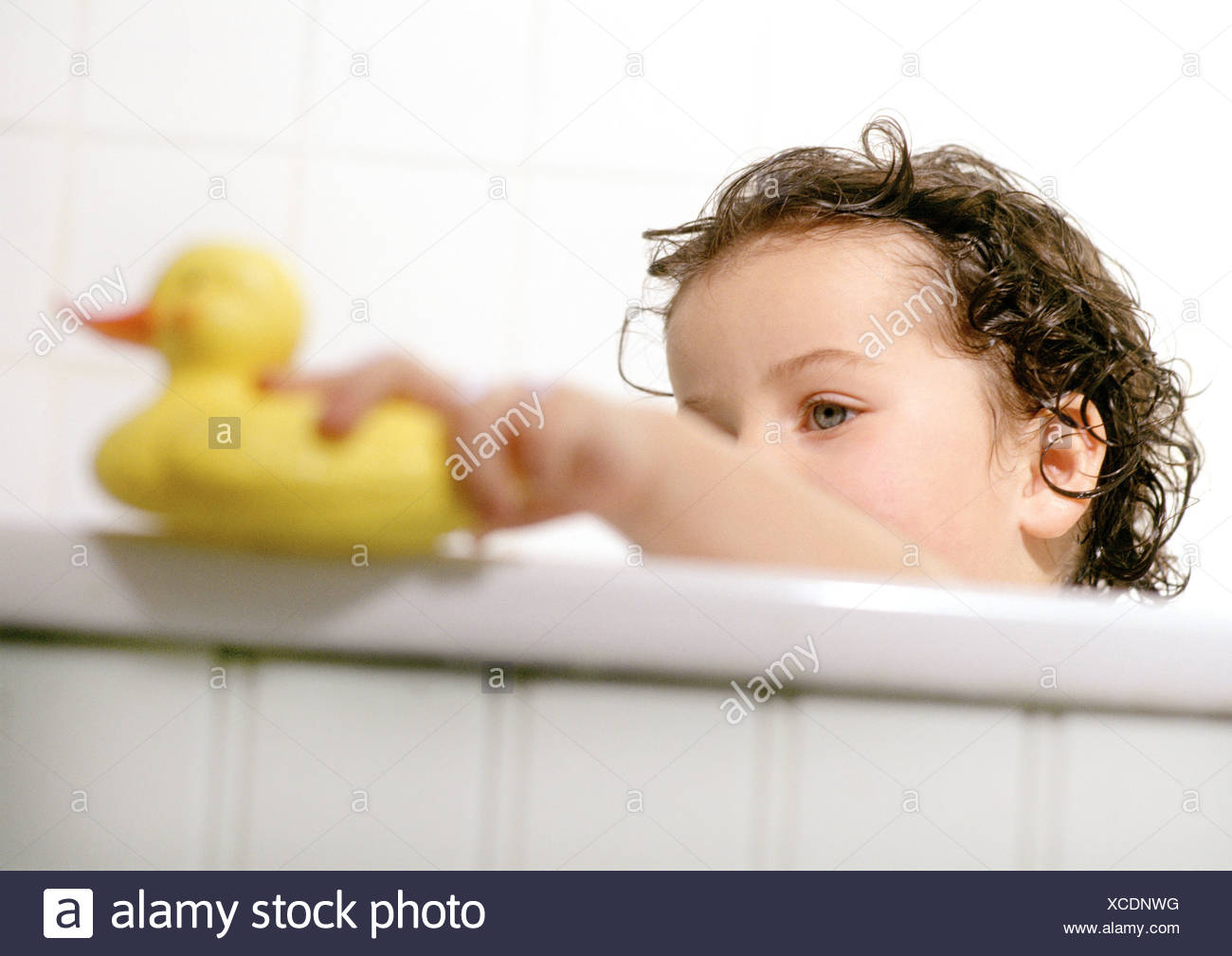 Young child playing with rubber duck in bath tub Stock Photo ...