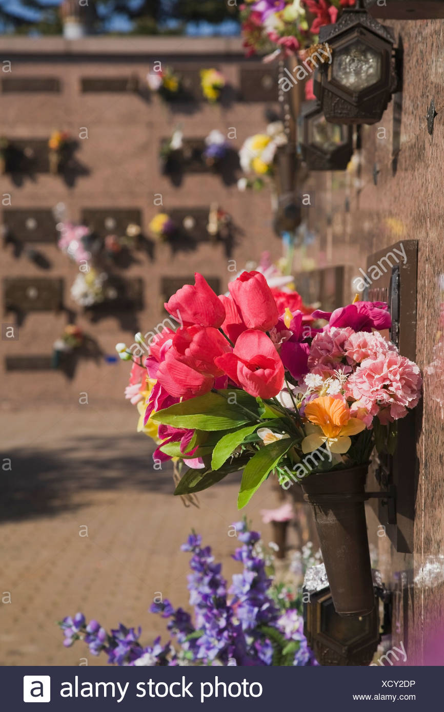 Laval, Quebec, Canada; Silk Flower Arrangements At A Columbarium ...