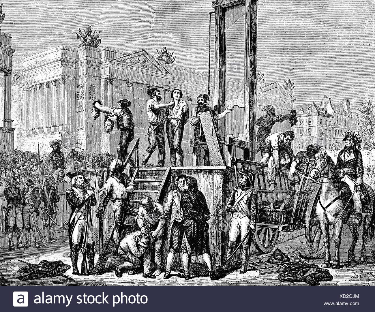 Robespierre, Maximilien de, 6.5.1758 - 28.7.1794, French politician, his  execution with the Guillontine, Place de la Revolution, 28.7.1794, wood  engraving ...