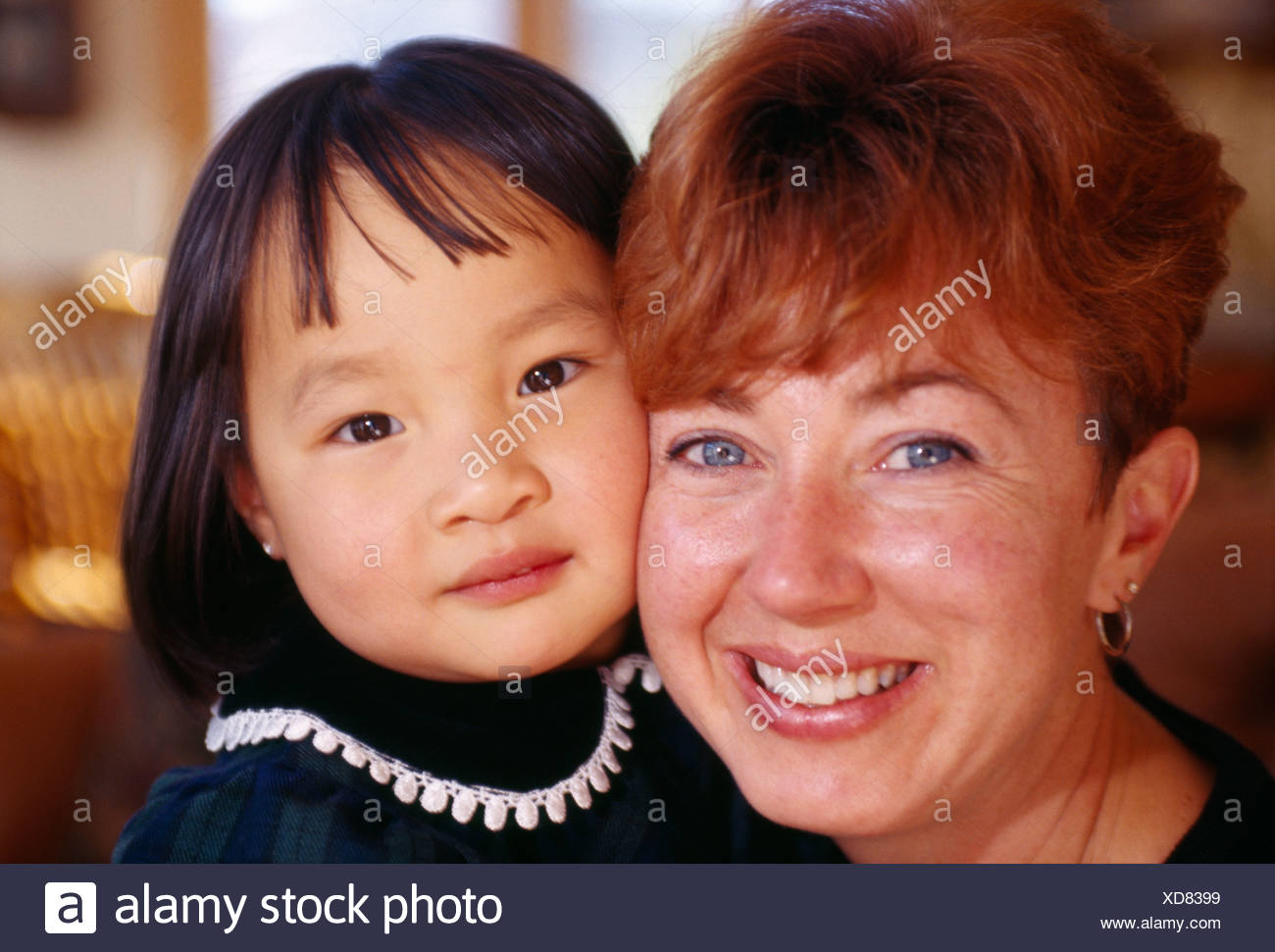 Asian mother adopted with daughter