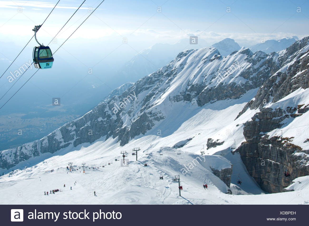 kanin ski area near bovec, slovenia shows a gondola and distant