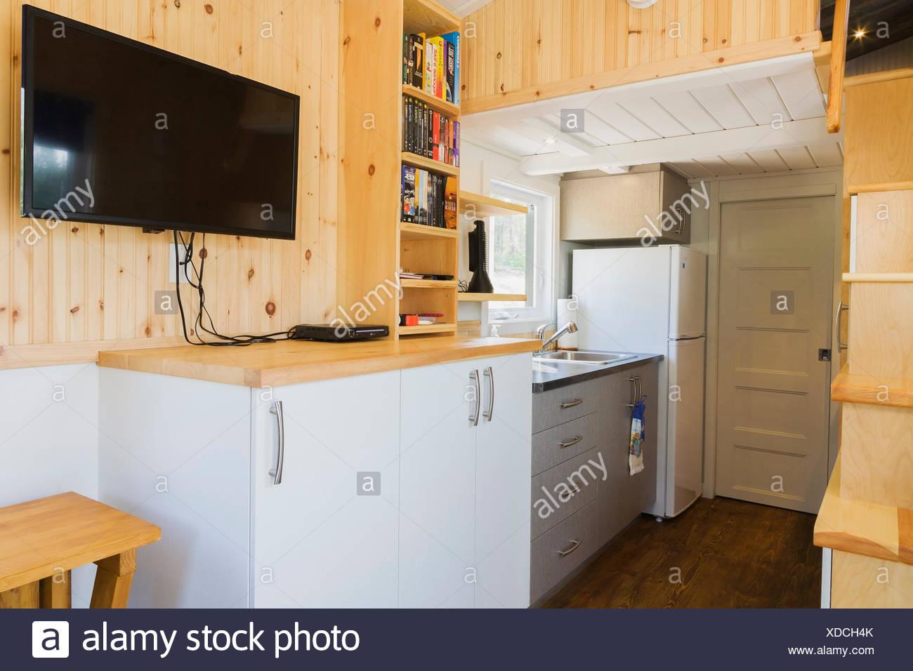 Kitchen Island Foot Closeup On Wooden Floor