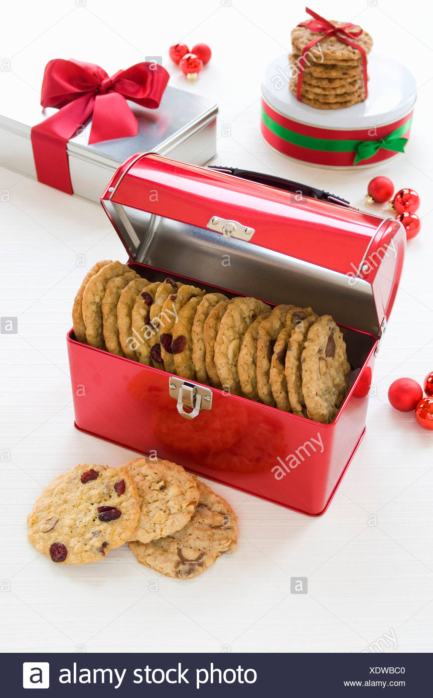 Assorted Tins of Cookies for Christmas Gifts Stock Photo: 283914176 ...