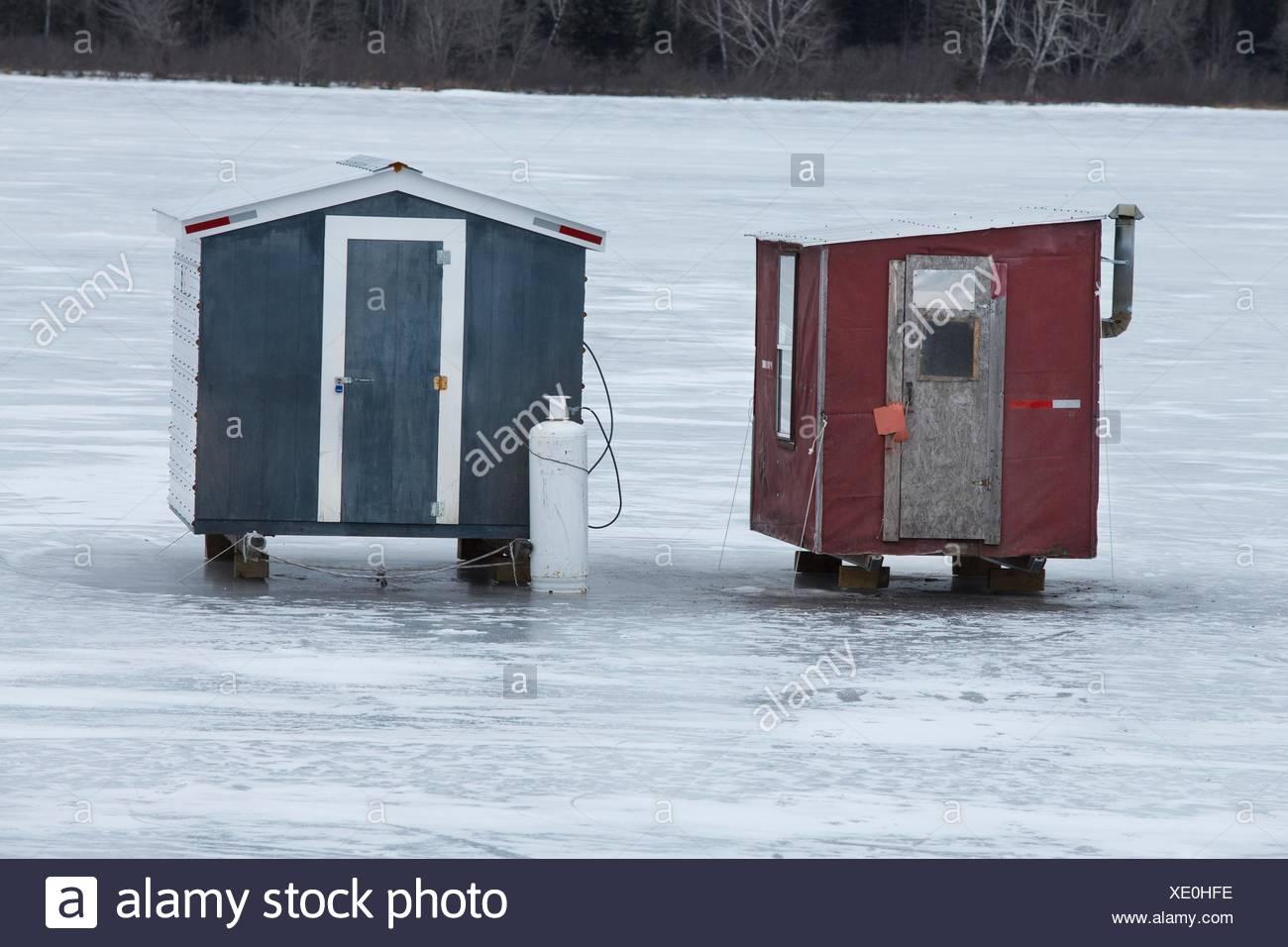 Ice fishing shack stock photos ice fishing shack stock for Ice fishing shacks