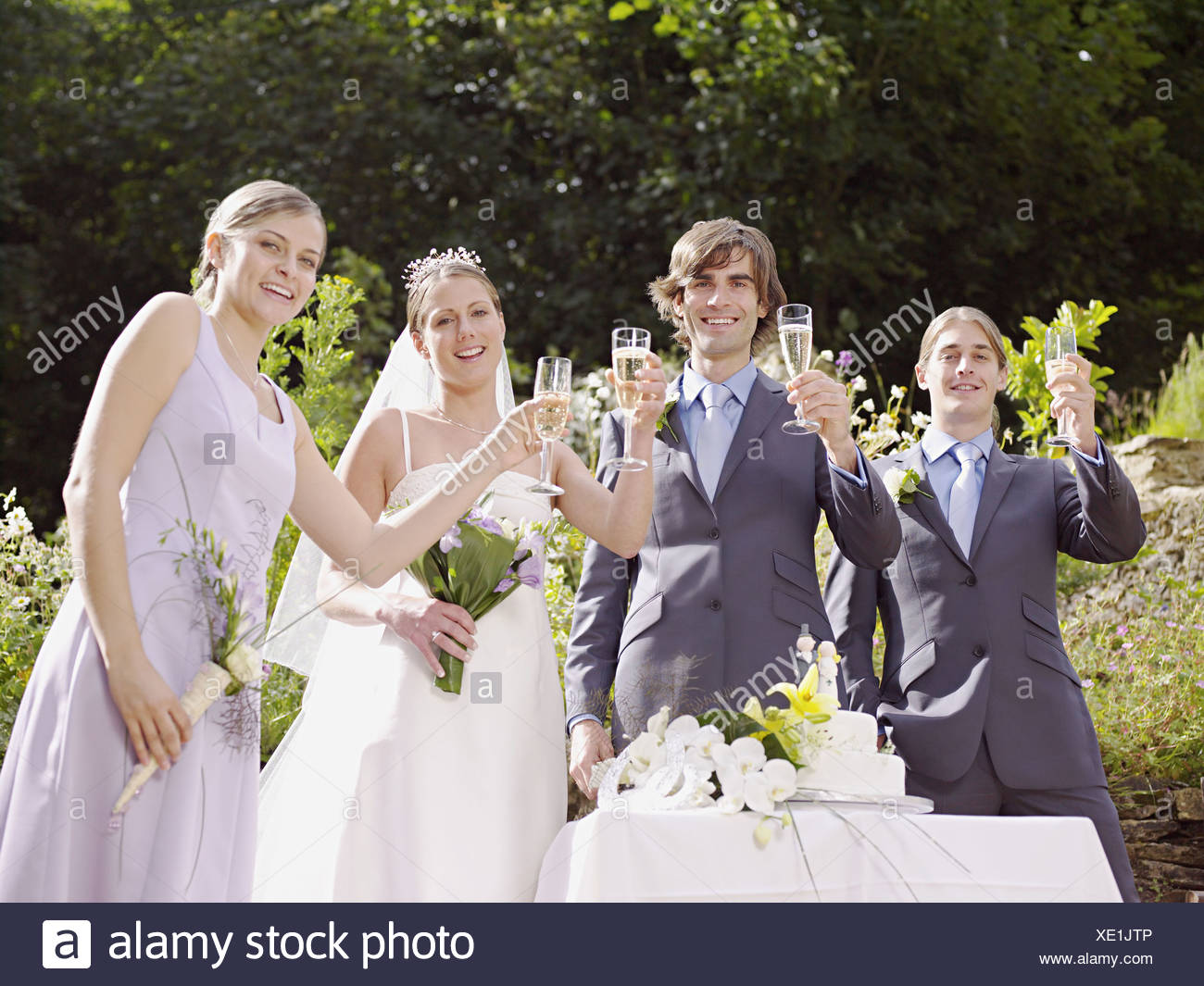 bride and groom toasting with guests stock photo 284007830 alamy