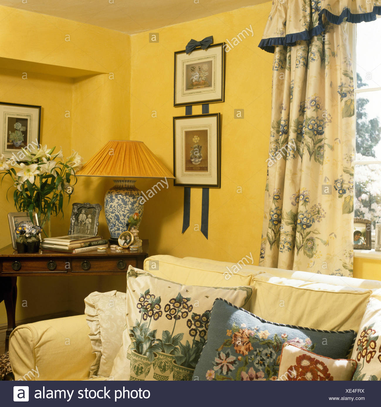 Primula Auricula themed curtains and cushions in a yellow nineties ...