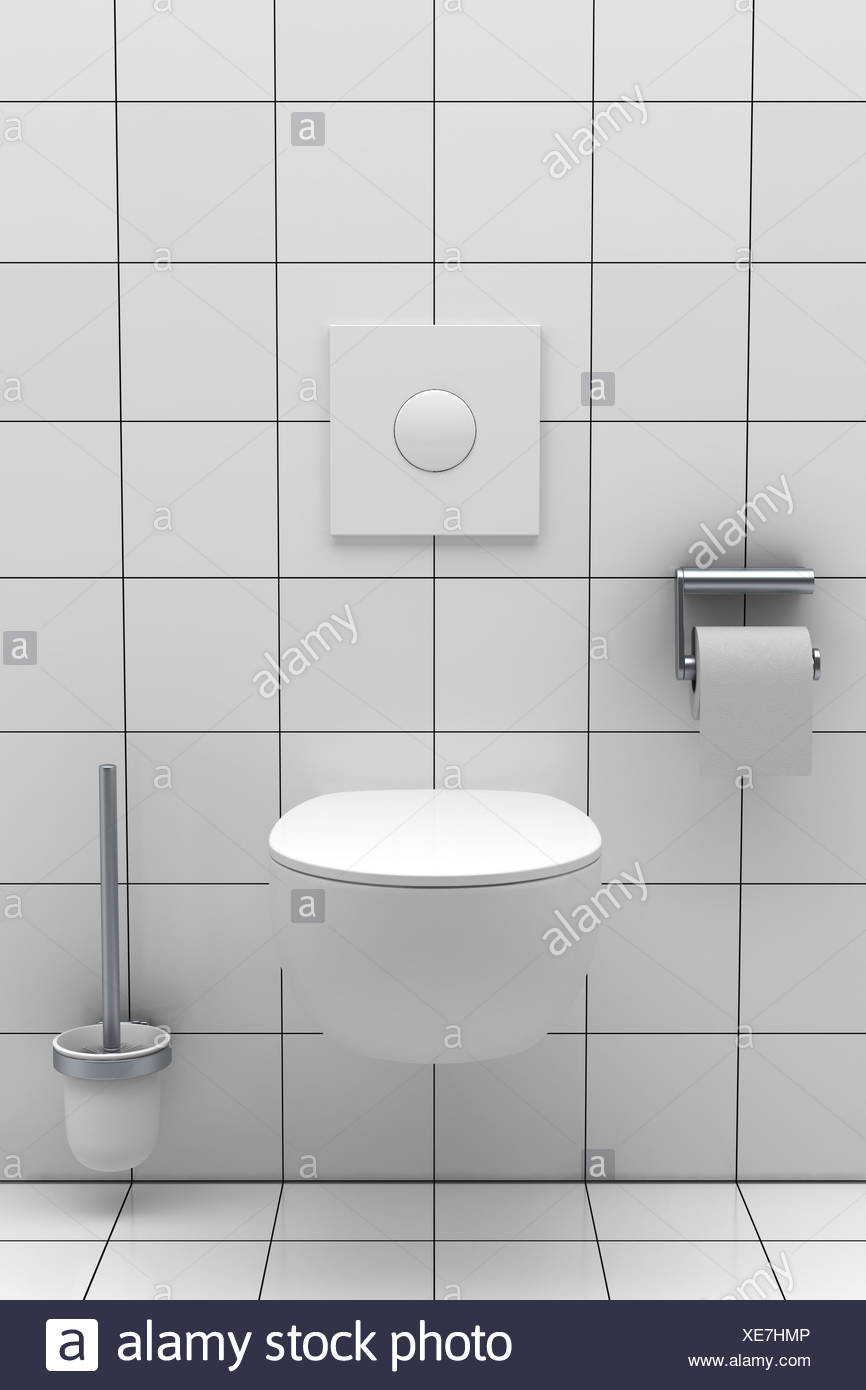 modern toilet with white tiles on wall and floor Stock Photo ...