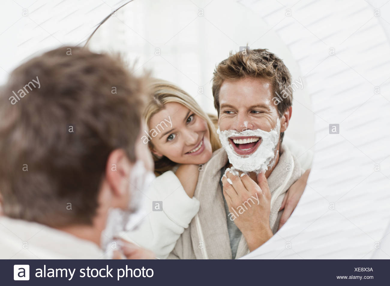 Head shave stock photos head shave stock images alamy woman watching boyfriend shave stock image buycottarizona Image collections