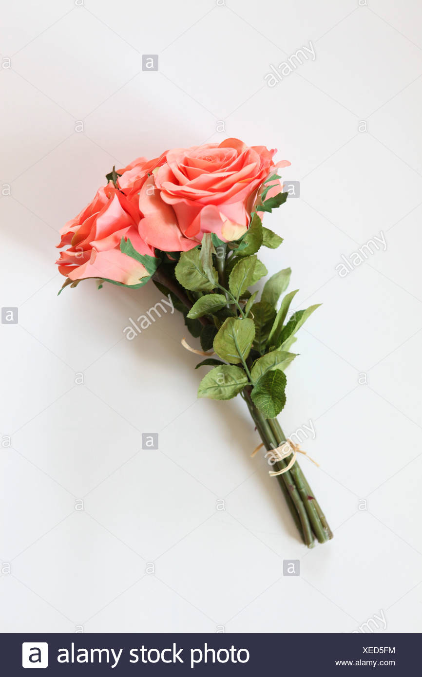 Silk Pink Rose Bouquet On White Background Stock Photo 284260808