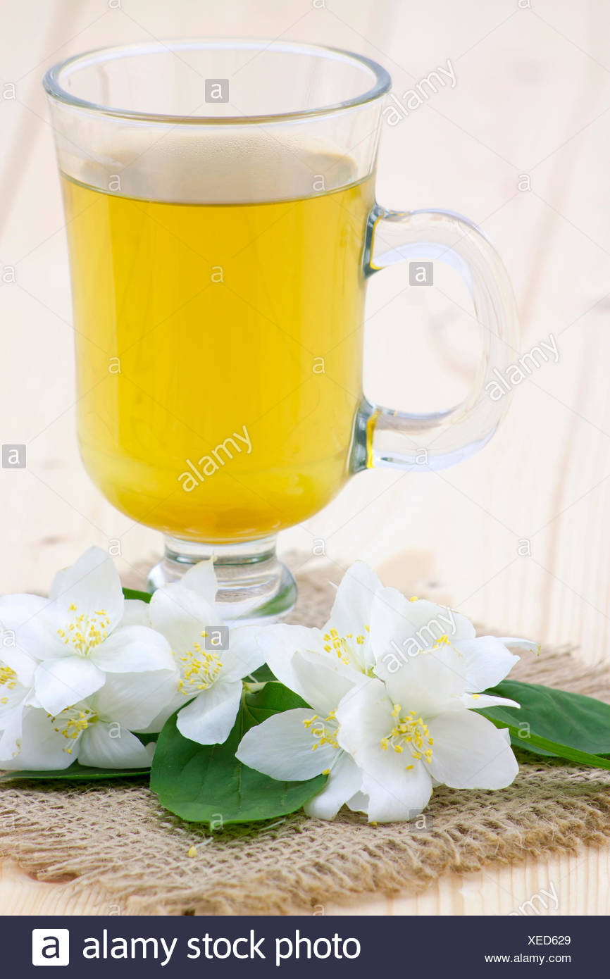 Glass Of Jasmine Tea And Jasmine Flowers Stock Photo 284261217 Alamy