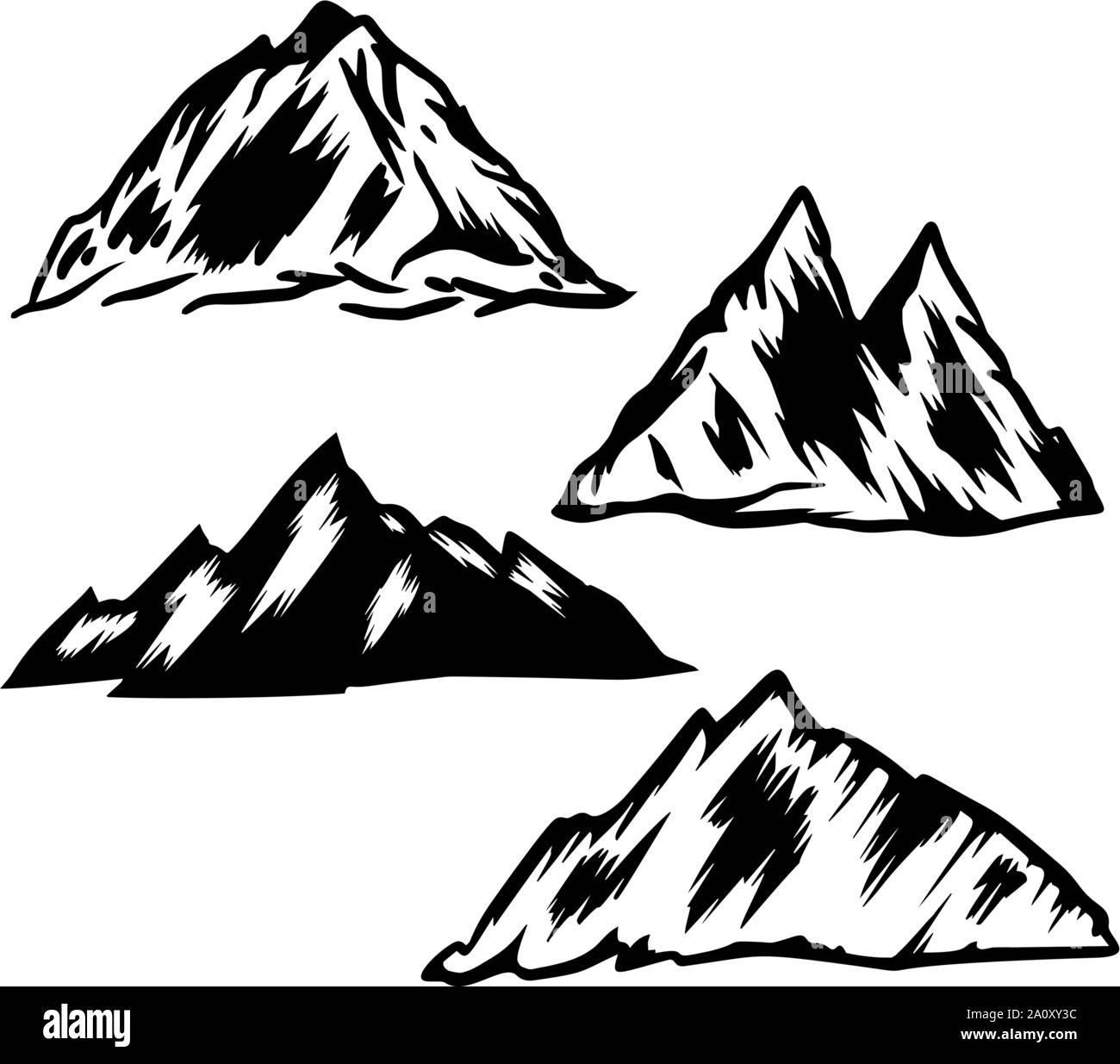 Satz von Hand gezeichnet Berg Illustrationen. Design Element für Poster, Emblem, Zeichen, Logos, Label. Vector Illustration Stock Vektor