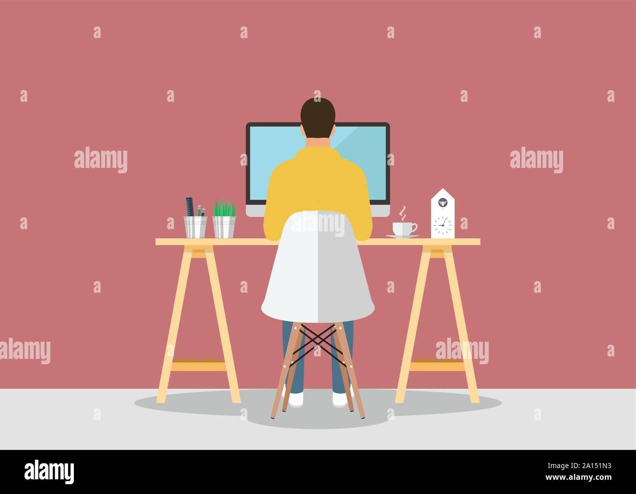 Mann bei der Arbeit am Computer in modernen Arbeitsplatz. Vector Illustration Stock Vektor