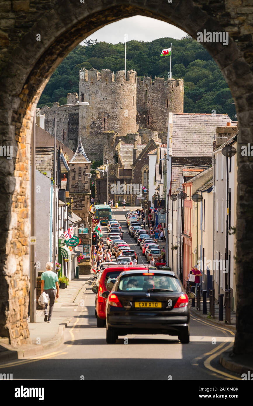Die historische Burg und Stadt Conwy, [Conway] Gwynedd, Wales UK Stockfoto
