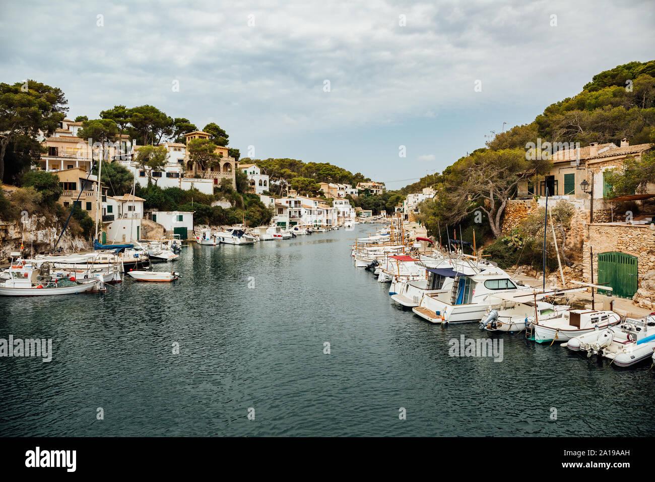 Das alte Fischerdorf Hafen von Cala Figuera, Mallorca, Balearen, Spanien. Stockfoto
