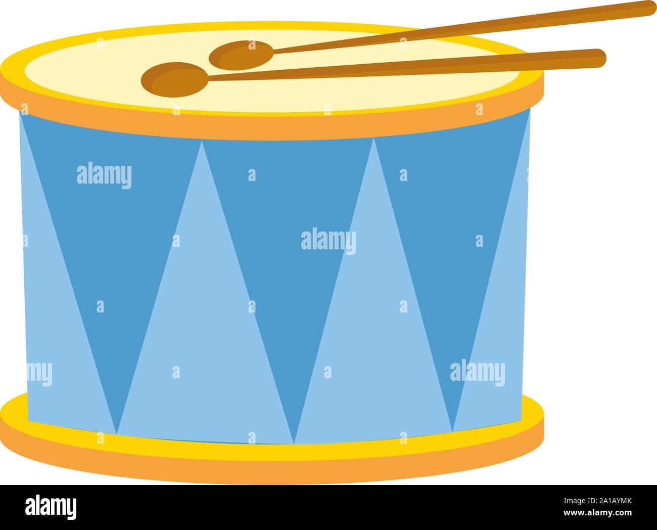 Blaue Trommel, Illustration, Vektor auf weißem Hintergrund. Stock Vektor