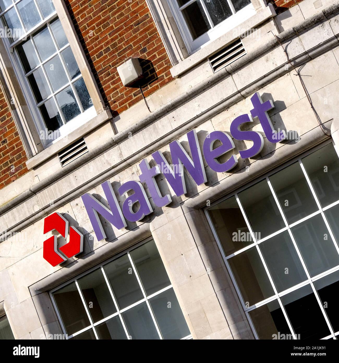 Die National Westminster Bank, bekannt als NatWest ist einer der wichtigsten britischen High Street Retail Bank Bank und Kreditinstitut Stockfoto