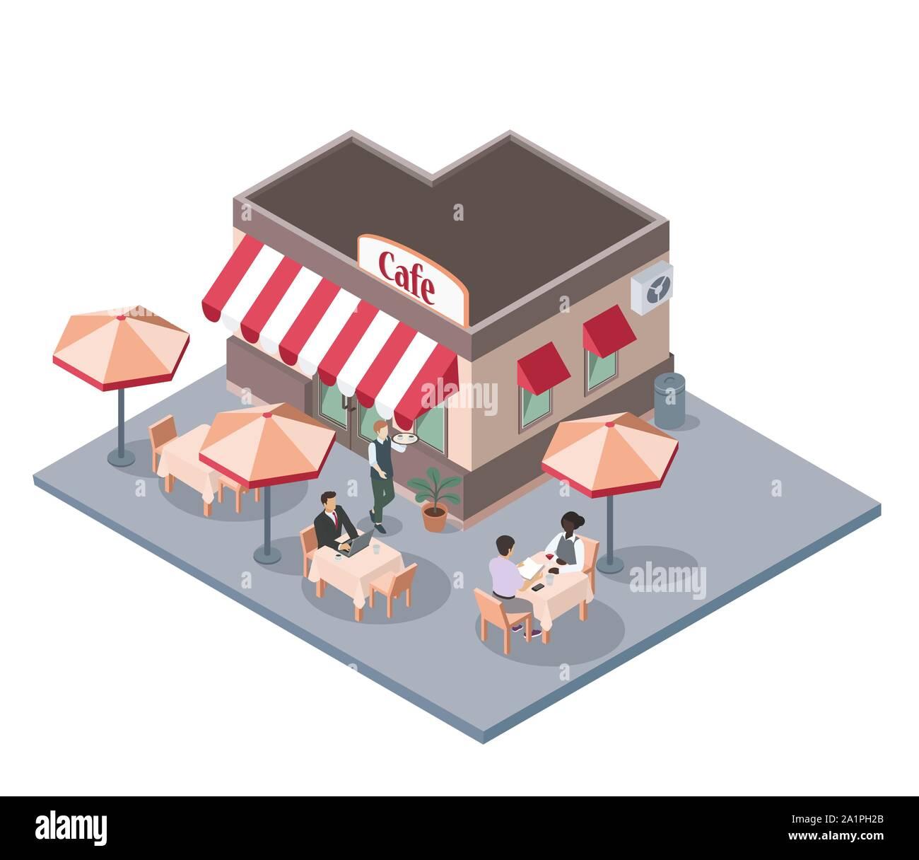 Luft oder Gehweg City Cafe geöffnet, Flachbild Vektor isometrische Stock Vektor